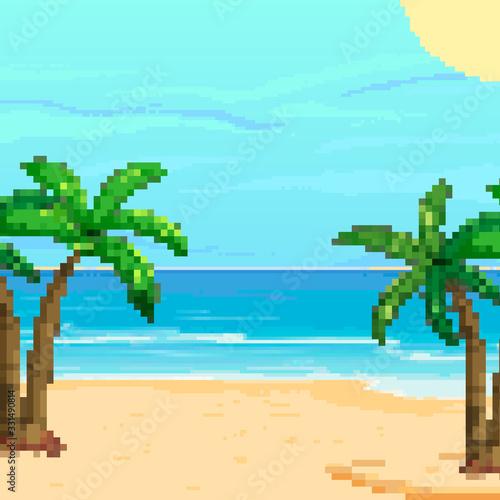 Pixel background for summer vacation.Summer beach game background. Pixel art 8 bit.  Wall mural