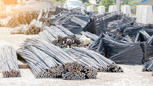 Many Steel Bars On The Ground ...
