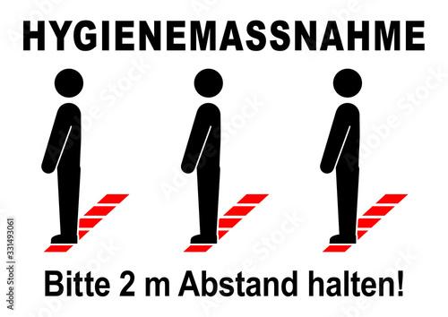 Fotomural ds45 DiskretionSchild - ks555 Kombi-Schild - german text: Hygienemassnahme / Bit