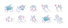 Vector Illustration Of Washing Hands. Cleaning And Disinfecting Hands