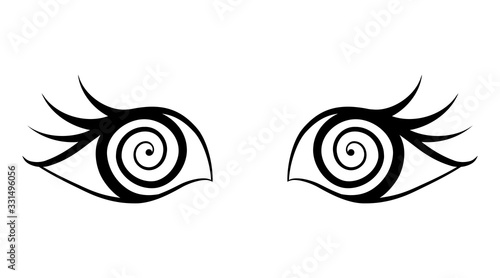 Photo Pair of eyes with bewitched gaze