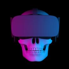 Human Skull In Virtual Reality Helmet On Black Background