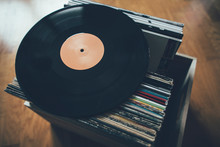 Vinyl Record On Stack Of Recor...