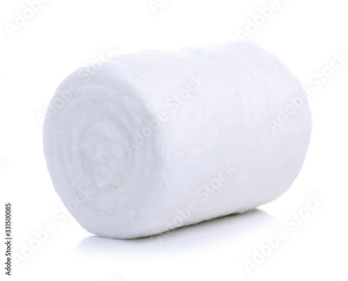 Medicine cotton wool roll on white background isolation Canvas Print