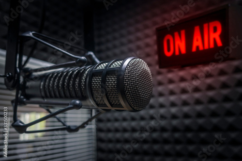 Fotografie, Tablou Professional microphone in radio station studio on air