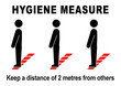 Leinwanddruck Bild - ds46 DiskretionSchild - ks556 Kombi-Schild -  english text: Hygiene Measure / Please keep your distance - people waiting - line / floor marking - hygiene distance. - template - DIN A2 A3 A4 e9301