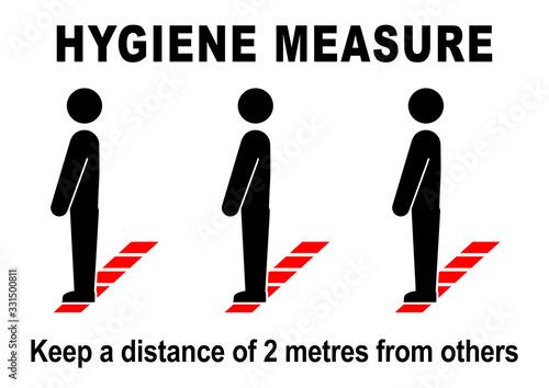 Fotografie, Obraz ds46 DiskretionSchild - ks556 Kombi-Schild -  english text: Hygiene Measure / Please keep your distance - people waiting - line / floor marking - hygiene distance