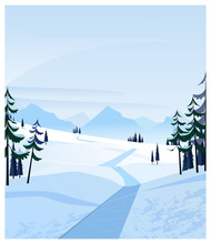 Country Scene With Snowy Road And Fir-trees. Winter Road Or Path Illustration. Winter Concept. For Websites, Posters Or Banners.