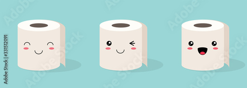 Set of three Cute kawaii Rolls of white toilet paper with a smiling face on a colored background. Flat vector stock illustration - 331512091