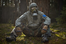 Man In A Gas Mask Protects Himself From Coronavirus