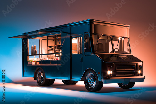 Obraz Black Food Truck With Detailed Interior Isolated on Illuminated Background. Takeaway food and drinks. 3d rendering. - fototapety do salonu
