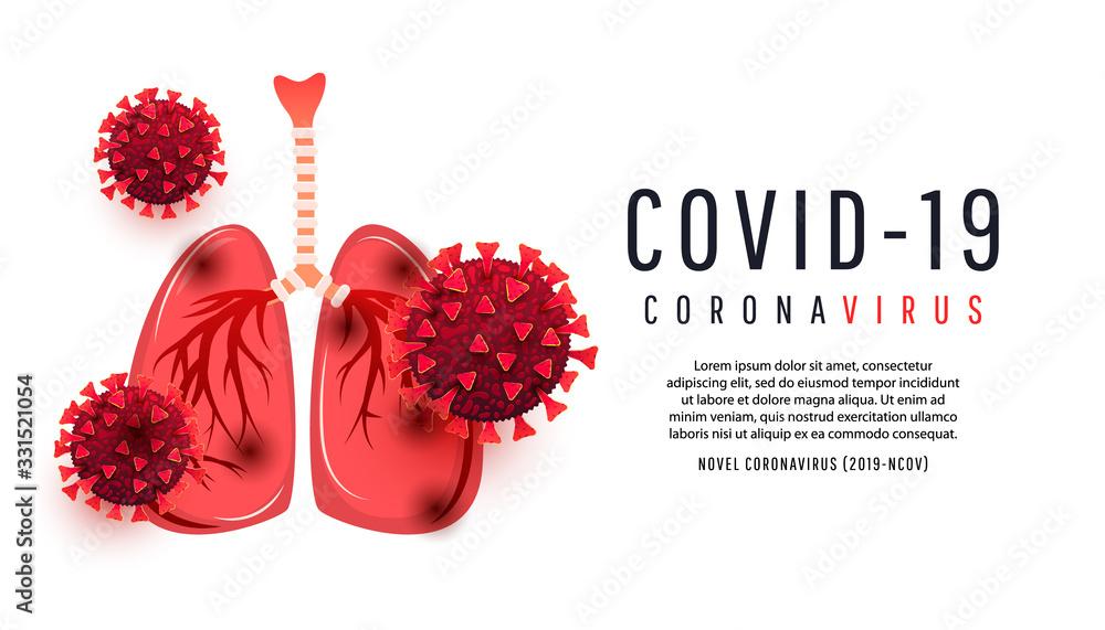 Fototapeta Cartoon human lungs infected with coronavirus bacterium cells isolated on white background with copispea. Vector illustration. 2019-nCoV Novel Coronavirus Bacteria