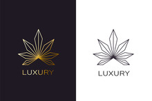 Gold Cannabis Plant Logo. Luxu...