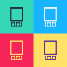 Pop Art Open Matchbox And Matches Icon Isolated On Color Background. Vector Illustration