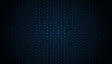 Dark Blue Blockchain Technology Background With Dots And Hexagons