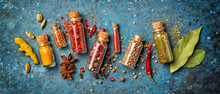 Different Spices In Glass Vial...