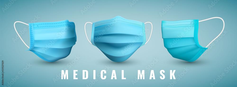 Fototapeta Realistic medical face mask. Details 3d medical mask. Vector illustration