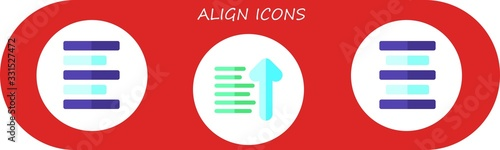 Photo Modern Simple Set of align Vector flat Icons