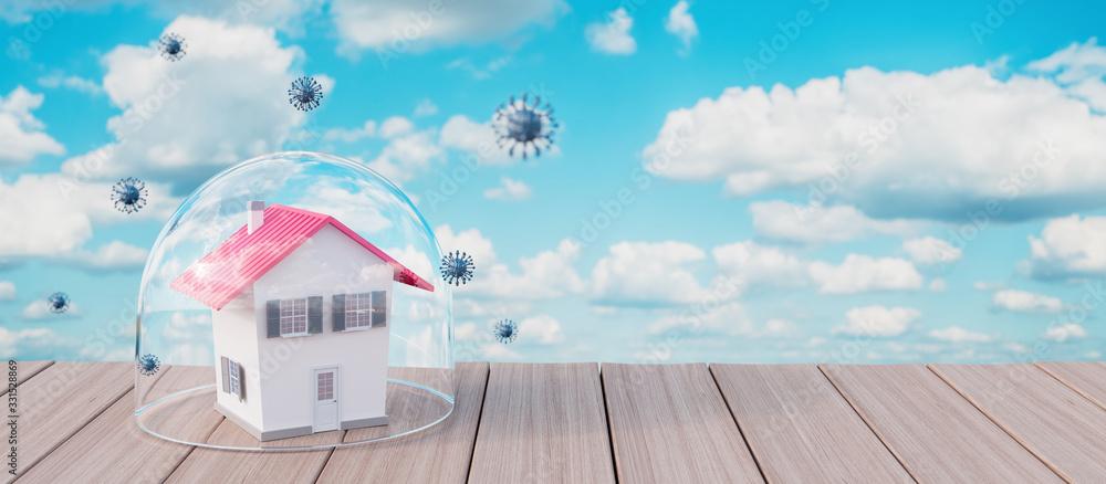 Fototapeta Pandemic virus quarantine period,concept of house in quarantine 3d render 3d illustration