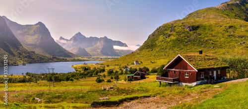 Fototapeta Beautiful Norwegian landscape photographed panorama - around Lom obraz