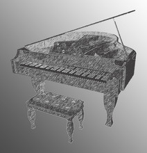 Charcoal Grand Piano With Blac...