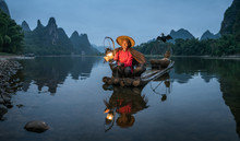 Chinese Cormorant Fisherman In Guilin, China