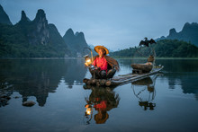 Old Chinese Fisherman With Cor...