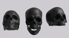Black Skull Set Front View Without Jaw And With Open Jaw Isolated 3d Rendering