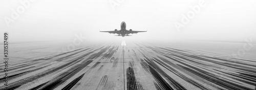 Fotografering Airport Runway Fog