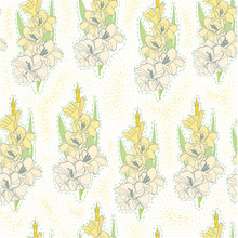 Floral Blooming Gladiolus Hand Drawn Vector Illustration Sketch. Yellow Pattern.