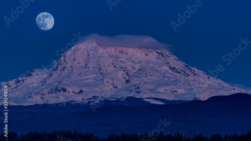 Moon Over Mount Rainier, Washington State, USA