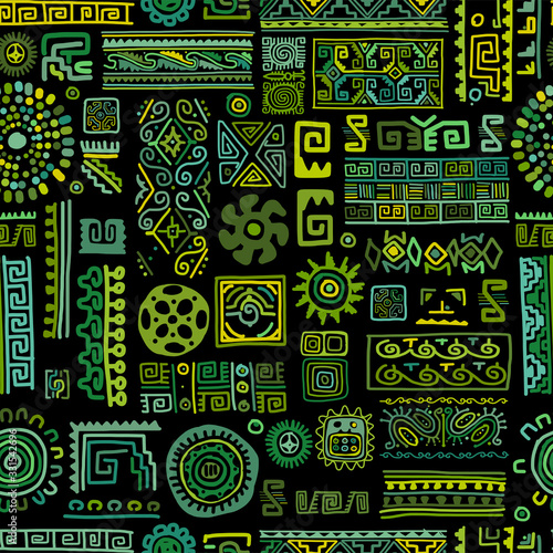Fotomurales - Ethnic handmade green ornament, seamless pattern