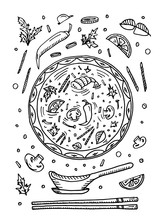 Doodle Hand Drawn Food Soup To...