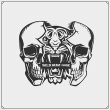 The Emblem With Tiger And Skull For A Sport Team. Wild Beast Inside. Print Design For T-shirt.
