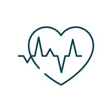 Cardio Heart Icon, Line Style