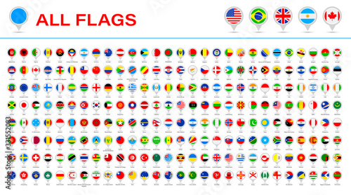 Obraz All World Flags - Vector Round Pin Flat Icons. 2020 versions of flags - fototapety do salonu