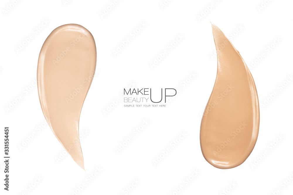 Fototapeta Liquid foundation color swatches with copy space. Advertising template design with sample text