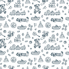 Toys Doodle Seamless Pattern. ...
