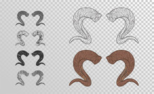 Vector Set Of Hand Drawn Horns Ram With Grunge Elements In Different Versions On A Transparent Background.