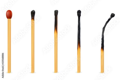 Obraz wooden burned and extinct match vector illustration - fototapety do salonu