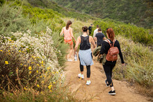 Women Hiking Downhill On Dirt Trail With Scrub Type Folliage On Either Side Of Them.  One Has Red Hair And A Leather Purse Backpack