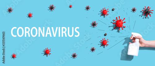 Fototapeta Coronavirus theme with a spray bottle with virus