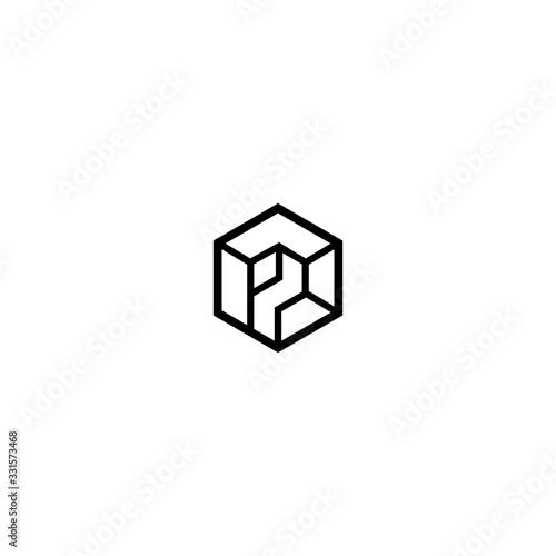 Obraz na plátně P Letter Logo Design Vector Template