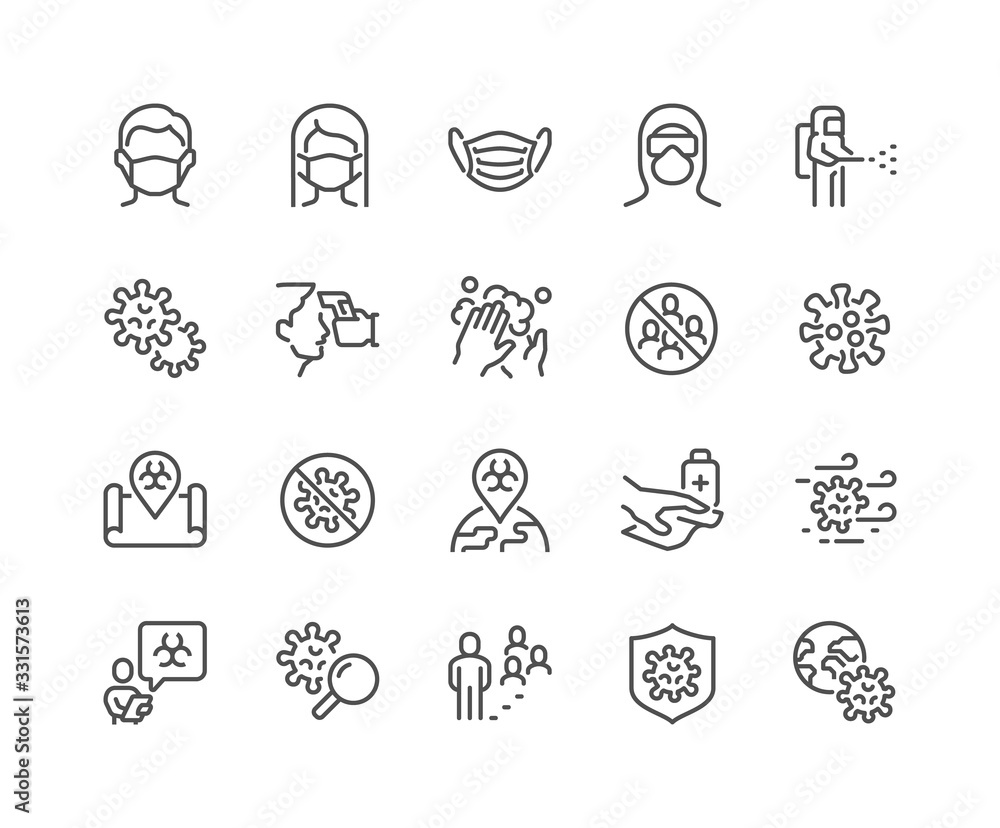 Fototapeta Simple Set of Coronavirus COVID-19 Safety Related Vector Line Icons. Contains such Icons as Washing Hands, Outbreak Map, Man and Woman Wearing Face Mask and more. Editable Stroke. 48x48 Pixel Perfect.