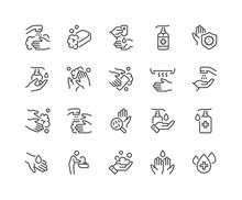 Simple Set Of Washing Hands Related Vector Line Icons.  Contains Such Icons As Washing Instruction,  Antiseptic, Soap And More. Editable Stroke. 48x48 Pixel Perfect.