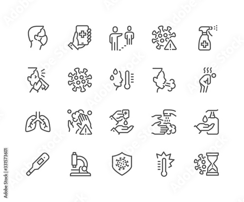 Obraz Simple Set of Coronavirus COVID-19 Protection Related Vector Line Icons.  Contains such Icons as Protective Measures, Coronavirus Symptoms, Incubation Period and more. Editable Stroke. 48x48  - fototapety do salonu
