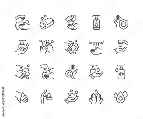 Simple Set of Washing Hands Related Vector Line Icons.  Contains such Icons as Washing Instruction,  Antiseptic, Soap and more. Editable Stroke. 48x48 Pixel Perfect. Fototapete