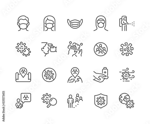 Simple Set of Coronavirus COVID-19 Safety Related Vector Line Icons. Contains such Icons as Washing Hands, Outbreak Map, Man and Woman Wearing Face Mask and more. Editable Stroke. 48x48 Pixel Perfect. - fototapety na wymiar
