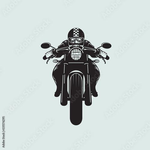 Biker clip art cafe racer style Canvas Print