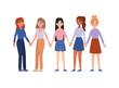 Women holding hands vector design